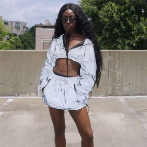 Reflective Skirt Set - Womens Reflective Jacket And Skirt Set Reflective 2 Piece Set Streetwear Festival Wear