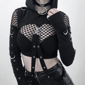 Goth Crop Top - Womens Goth Crop Top Harajuku Hoodie Punk Hooded Crop Top Long Sleeve Gothic Top