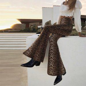 Leopard Print Pants - Festival Leopard Print Pants High Waisted Pants Leopard Print Flare Pants Leggings