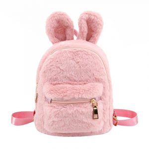Bunny Backpack - Womens Kawaii Bunny Backpack Harajuku Rabbit Backpack Plush Cute Faux Fur Backpack Rabbit Ear Furry Mini Backpack