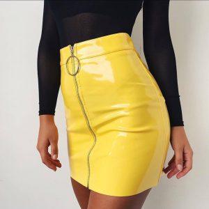 Vinyl Skirt - Womens Vinyl Skirt Pvc Skirt Streetwear Mini Skirt High Waisted Zipper Skirt