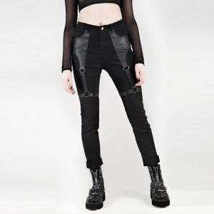 Goth Pants - Womens Goth Pants Punk Rock Harajuku Harness Pants Gothic Pants