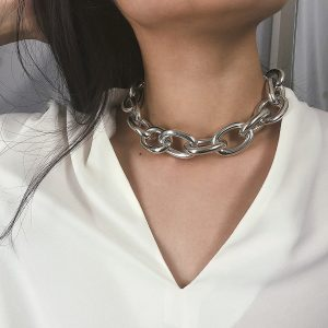 Chunky Chain Link Necklace - Womens Thick Chain Link Necklace Punk Metal Chain Necklace Streetwear Link Chain Necklace