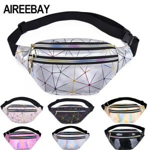 Holographic Fanny Pack - Womens Festival Holographic Fanny Pack Rave Geometric Waist Bag Chest Bag