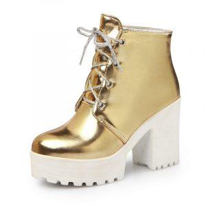 Gold Platform Boots - Punk Gold Platform Boots Metallic Gold Ankle Boots Womens Gold Boots