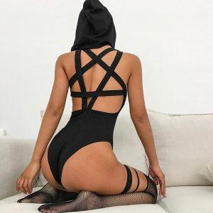 Inverted Pentagram Bodysuit - Gothic Inverted Pentagram Harness Bodysuit Goth Bodysuit Gothic Hooded Bodysuit