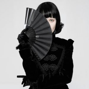 Black Hand Fan - Gothic Black Hand Fan Punk Fabric Fan Spiked Studded Japanese Fan