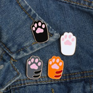Cat Paw Pin - Womens Kawaii Cat Paw Print Pin Harajuku Cat Paw Brooch Paw Print Badge