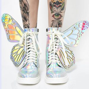 Butterfly Boots - Womens Harajuku Winged Boots Festival Kawaii Holographic Butterfly Boots
