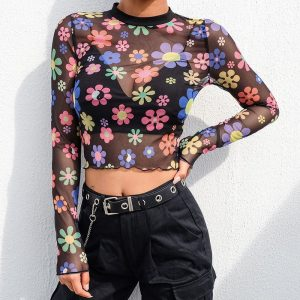 Mesh Flower Top - Womens Mesh Flower Top Long Sleeve Flower Power Top Floral Transparent Crop Top