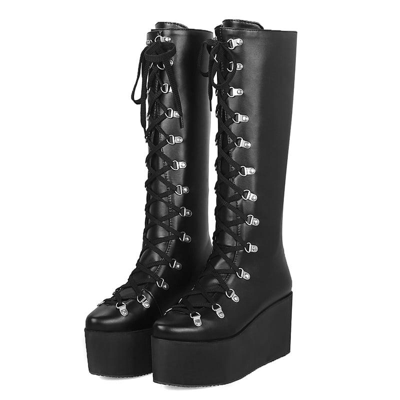 Goth Platform Boots | Black Lace Up