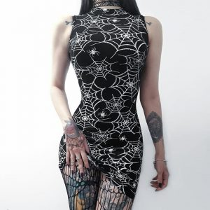 Spider Web Dress - Womens Goth Spiderweb Dress Gothic Witch Spider Web Dress