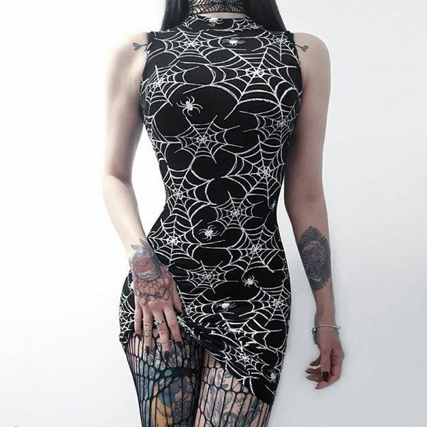 Spider Web Dress - Womens Goth Spiderweb Dress Gothic Witch Spider Web Dress